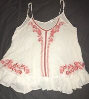 Entro Size L White With Coral Embroidery Spaghetti Strap Flowy Boutique Tank