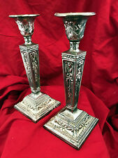 Silver Plate Pair Candlesticks Vintage