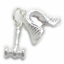 .925 x 1 Court Room charms Ec1941 Judges Wig and Gavel sterling silver charm