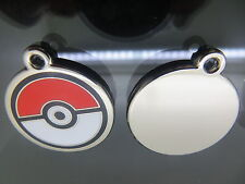 Cute Anime Cartoon Pokemon Red & White Pokeball Silver Metal Keyring  Keychain