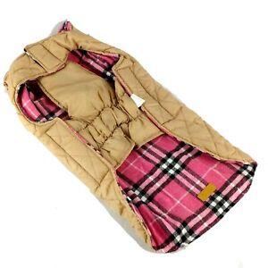 Kuoser Dog Pet Coat Jacket Quilted Pink Plaid Reversible Cozy Warm Washable