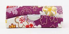 Cute Japanese Dark Purple Flower Retro Lipstick Case Holder w Mirror Coin Box