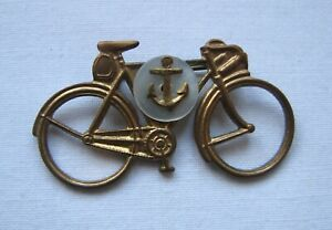 Vintage WW2 Navy Sweetheart Brooch Pin Bicycle MOp Anchor