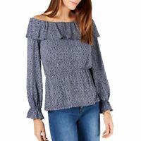 MICHAEL KORS Women's Printed Off The Shoulder Ruffle Blouse Shirt Top TEDO