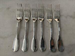6 Fourchettes A Dessert Gateaux Entremets Metal Argente Christofle