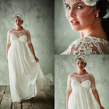 White Ivory Plus Size Wedding Dress Beach Chiffon Bridal Gown Size 20 22 24 26