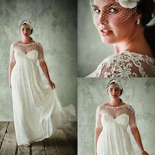 White Ivory Plus Size Wedding Dress Beach Chiffon Bridal Gown Size 20 22 24 26