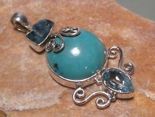 Sterling silver 10gr turquoise, apatite & cut blue topaz pendant. Gift bag.