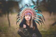 N33- From 5-8 years Kid / Child's: Indian turquoise and black feather Headdress
