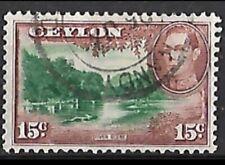 1938 - Ceylon KGVI 15c River Scene Used #SG390