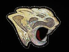 Iron On Transfer Applique Sequin/Rhinestone Team Mascot Panther Face Head