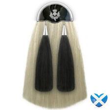Long White Horse Hair Sporran with Two Black Tassels - Handmade Thistle NEW