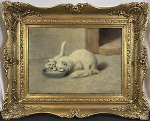 Antique c. 1910 Arthur Heyer Turkish Angora Kitten & Cat Drinking Milk SIGNED