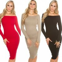 Women's quality ribbed knit bodycon midi Dress 5 Colors One size UK 8/10