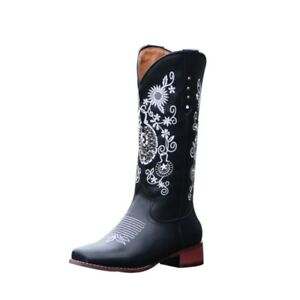 Western Lady Square Toe Embroidered Loose Calfskin Boots Pu Leather Cowboy Boots