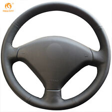 DIY Hand-Stitched Black Artificial Leather Steering Wheel Cover for Peugeot 307