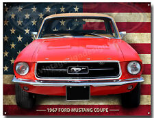 1967 FORD MUSTANG COUPE METAL SIGN VINTAGE AMERICAN MUSCLE CARS.MAN CAVE SIGN A3