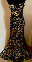 Camille La Vie Leopard Tiger Animal Print Black Mermaid Evening Gown Size 6