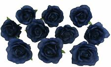 10 Navy Blue Rose Heads Silk Flower Wedding/Reception Table Decorations (Large)