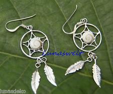 Traumfänger Ohrhänger mit Shiwa`s Auger rund mit 2 Federn 925 Silber