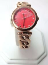 Fossil Olive Red Dial Rose Gold Tone ladies Watch