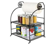 2 Tier Metal Storage Shelf Tin Can Jar Holder Shelving Kitchen Roll Spice Rack