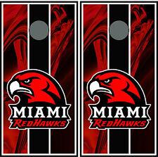 Miami Ohio Redhawks 0191 Custom Cornhole board vinyl wraps stickers posters gift