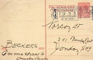 NETHERLANDS 1935 USED POSTCARD TO LONDON BEARING 25 CENT PREPAID STAMP