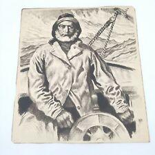 Vintage 1940/'s R.H Palenske Heavy Seas Sailing Print
