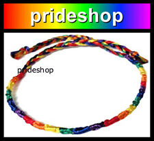 Rainbow Thin Silk Weave Friendship Bracelet Gay Lesbian Pride #796
