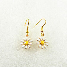 Fashion Enamel Plated Daisy Flower Charm Dangle Earring Drop Jewelry Gift