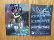 1996 CONAN THE MARVEL YEARS CHROMIUM PROMO CARD SIGNED SIMON BISLEY ART, POA