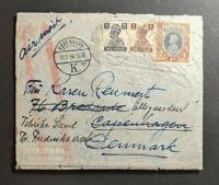 1946 Bombay India Airmail Cover to Copenhagen Denmark