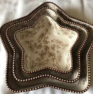 Temptations Set Of 3 Star Shaped Dishes Bakeware Floral Lace Brown