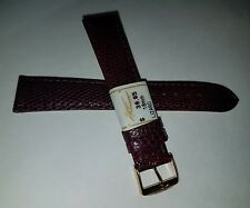 ZRC France Made Burgundy GENUINE Lizard 18mm Watch Band Gold Tone Buckle $39.95