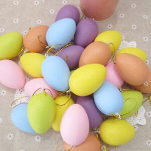 12 Bright Decor Multi-Color Eggs Simulation DIY Easter Plastic with Hanging Rope