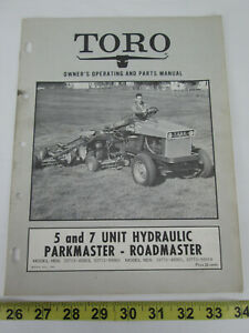 1970 TORO 5 and 7 Unit Hydraulic Parkmaster Owner's Manual Parts Catalog
