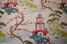 Multicolored Asian Toile Zin Linen Regal Fabric