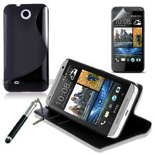 Black Wallet 4in1 Accessory Bundle Kit Case Cover For HTC Desire 300