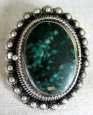 ANTIQUE BOLD STERLING SILVER PENDANT PIN LOCKET GREEN CHRYSOCOLLA HAND MADE