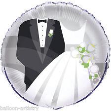 """18 """"Silver SPOSA SPOSO Elegante Festa Matrimonio ROUND Foil Balloon"""