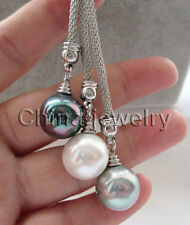 """24"""" 3bead 14mm white black gray perfect round sea shell pearl necklace"""