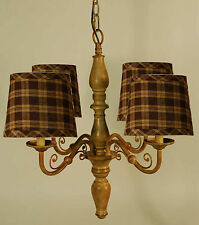 Taupe Metal 4-arm chandelier with Black Plaid Shades