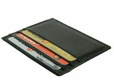 Black Cowhide Leather Men's Wallet 6 Credit Card ID Front Pocket Thin Holder NR
