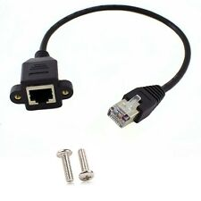 RJ45 Male to Female Screw Panel Mount Ethernet LAN Network Extension Cable 1m