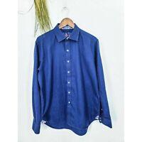 Robert Graham Men's Large Shirt Blue Paisley Button Down Long Sleeve Casual
