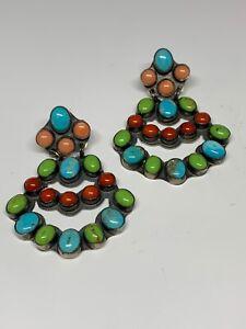 Rocki Gorman K.C. Cook Sterling Dangle Earrings Turquoise Stones Multicolor RARE