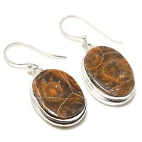 """Ammonite Fossil Coral Gemstone Handmade 925 Sterling Silver Jewelry Earring 2 """""""