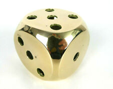 Vintage Large Brass Dice Die Over Sized 65mm Hollow Paperweight Gaming Gambling