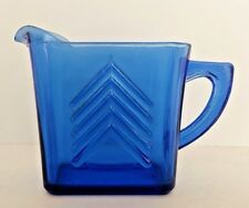 Hazel Atlas Chevron Promo Depression Glass Cobalt Blue Milk Pitcher Creamer Vtg